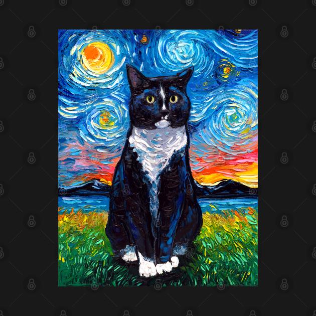 TeePublic: Tuxedo Cat Night