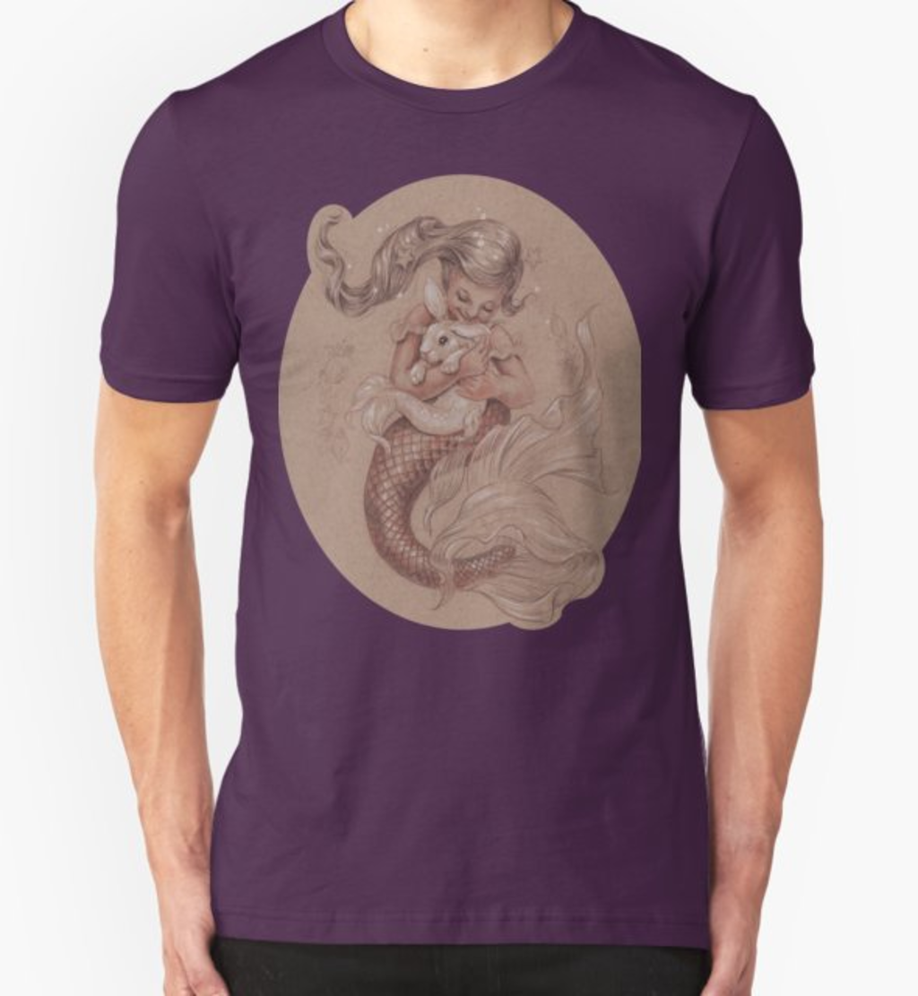 RedBubble: Mermaid with her pet Merbunny