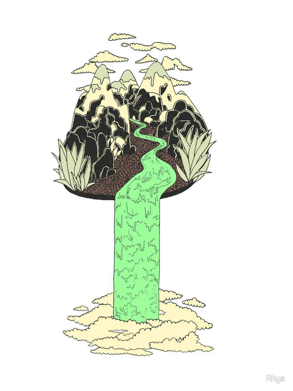 RedBubble: Levitating Island with a Source coming from nowhere