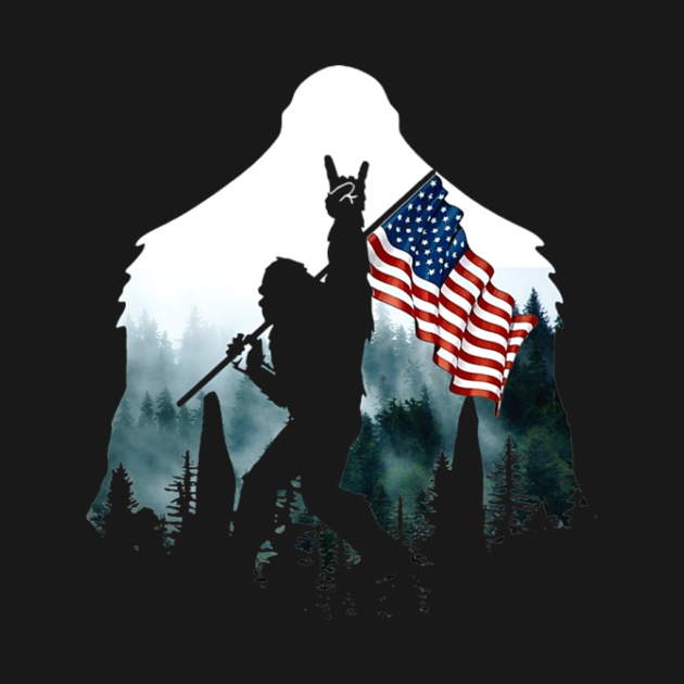 TeePublic: American flag Bigfoot Sasquatch Peace Victory Sign