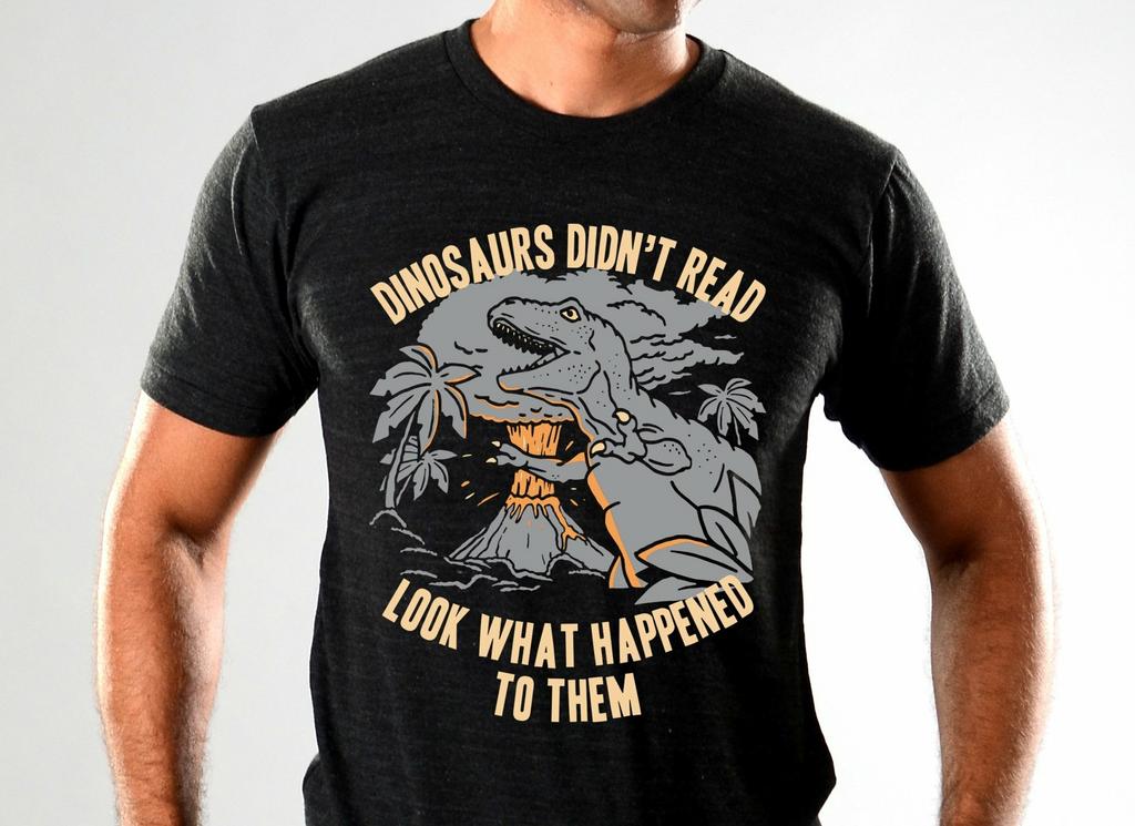 SnorgTees: Dinosaurs Didn't Read Tri-Blend Limited Edition Tri-Blend