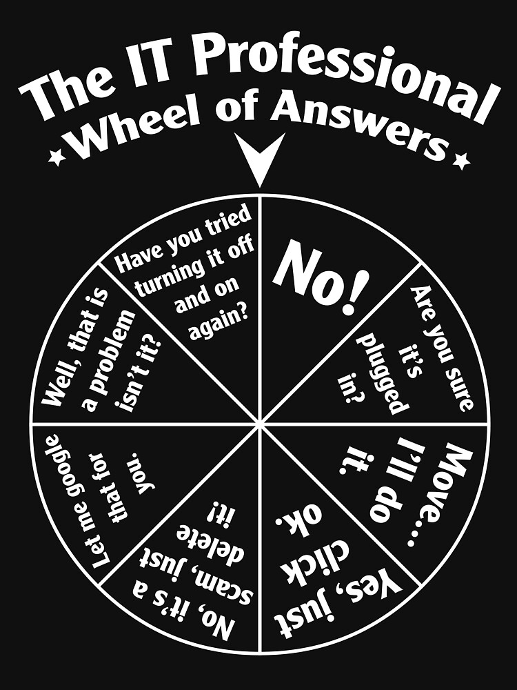 RedBubble: The IT Professional Wheel of Answers.
