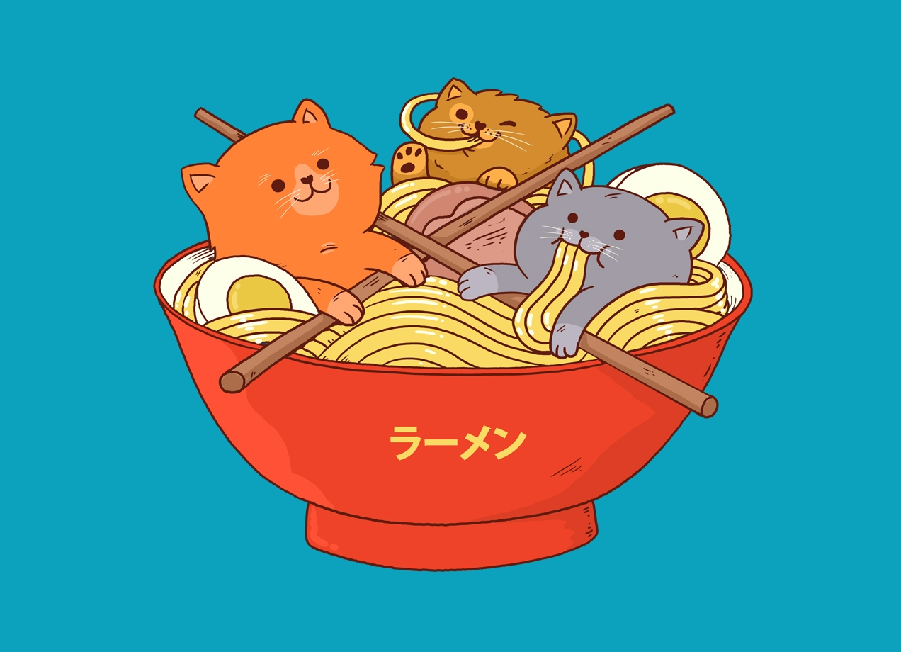 Threadless: Ramen and cats