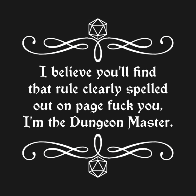 TeePublic: Page Fuck You I'm the Dungeon Master