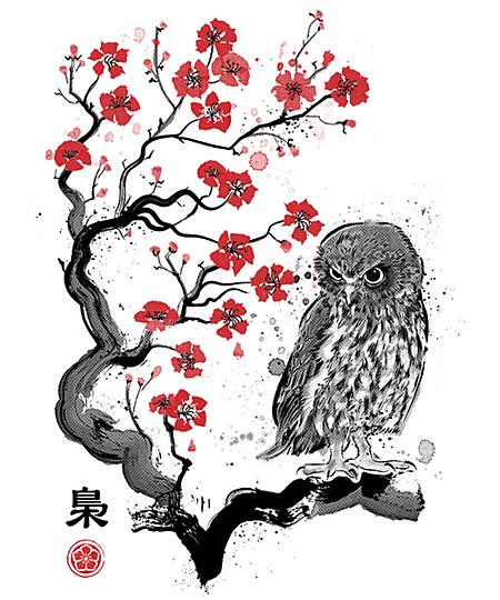 Qwertee: Fukurō sumi-e