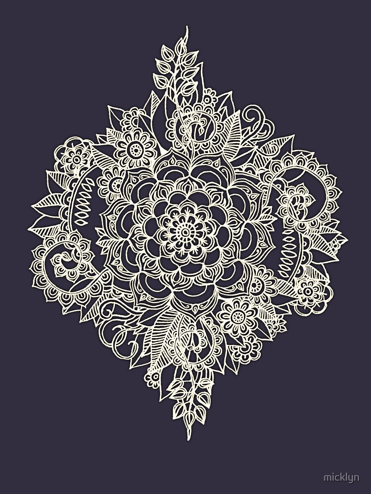 RedBubble: Cream Floral Moroccan Pattern on Deep Indigo Ink