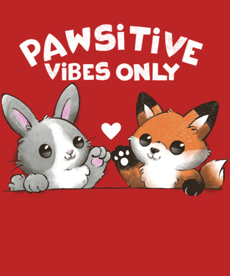 Qwertee: Pawsitive vibes only