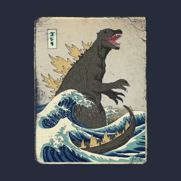 TeePublic: The Great Godzilla off Kanagawa