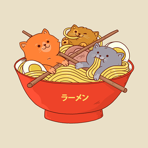 TeePublic: Ramen and cats