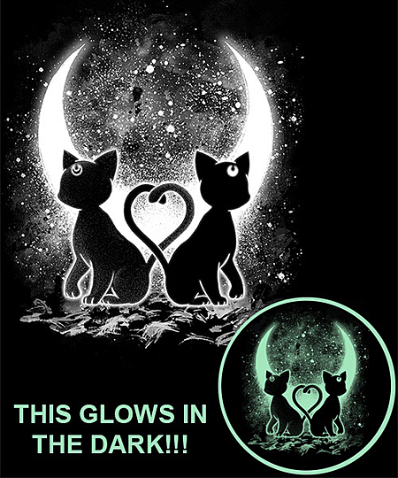 Qwertee: Moon Cats - Glows in the Dark