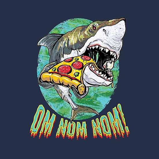 BustedTees: Great White Shark Loves Pizza