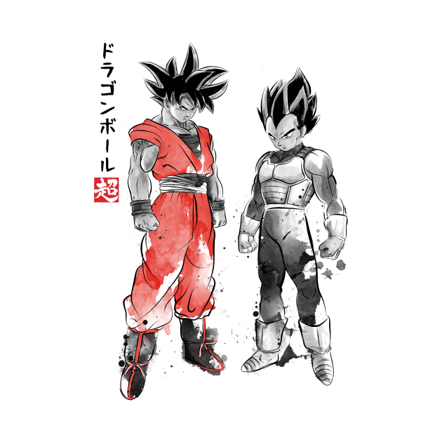 TeePublic: Saiyan Warriors sumi-e