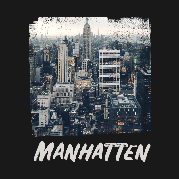 TeePublic: Manhattan Skyline Grunge Style Gift