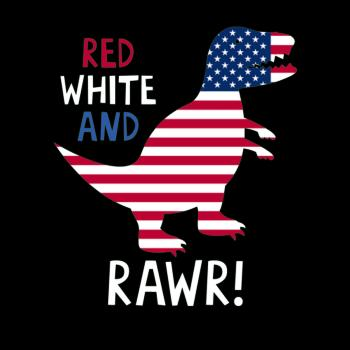 BustedTees: Dinosaur Rawr American Flag Patriotic Red White T-