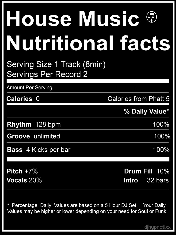 RedBubble: House Music Nutritional Facts