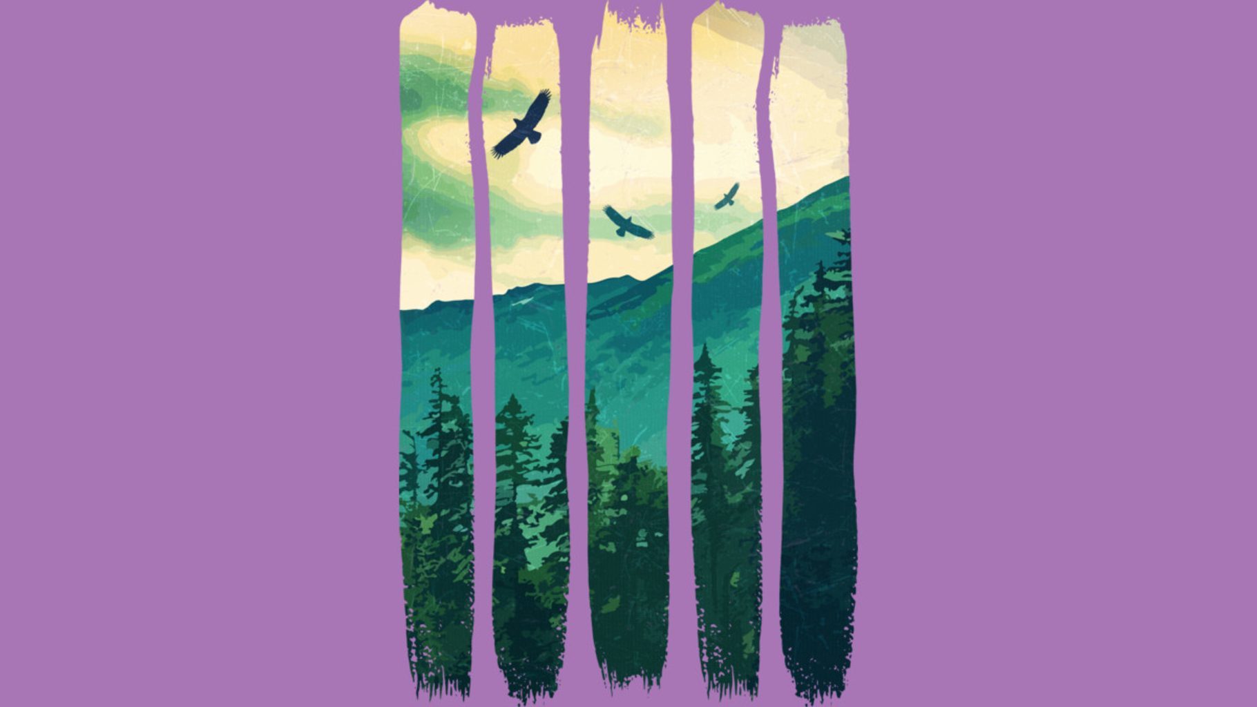 Design by Humans: Vintage Pines Eagles Mountain