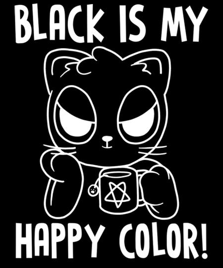 Qwertee: Black Cat, Happy Color