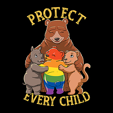 MeWicked: Protect Every Child - Prevent Child Abuse - Mama Bear with Rainbow LGBTQ+ Bear