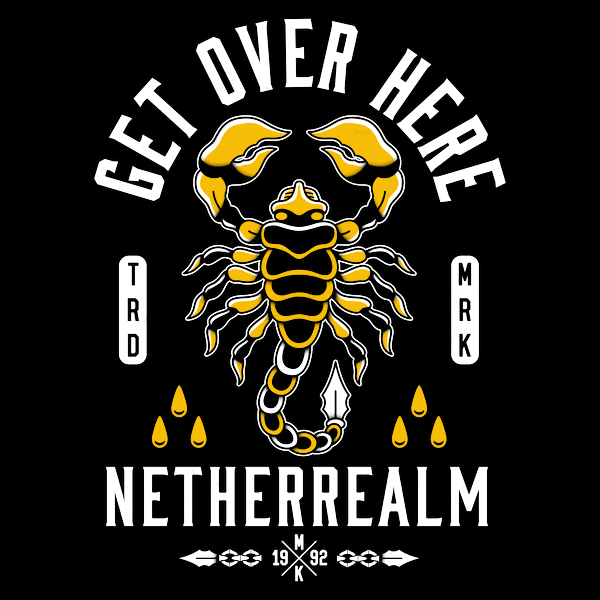 NeatoShop: Get Over Here - Scorpion Tattoo - Vintage Distressed - Fighting Game