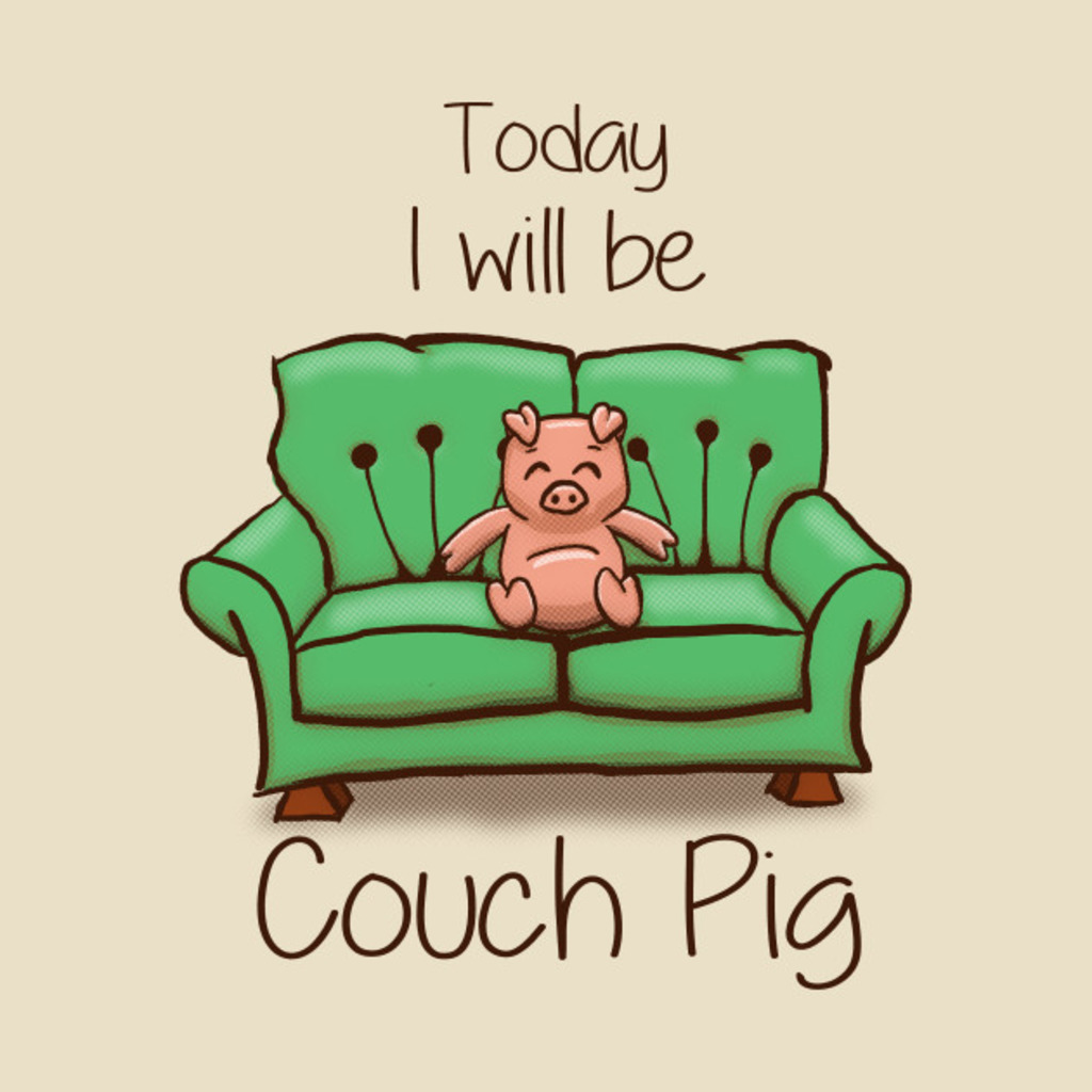 TeePublic: Couch Pig - (Full Colour) T-Shirt