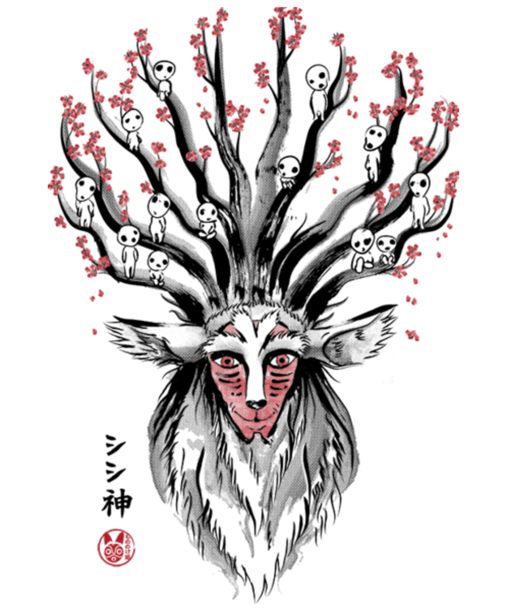 Qwertee: The Deer God sumi-e