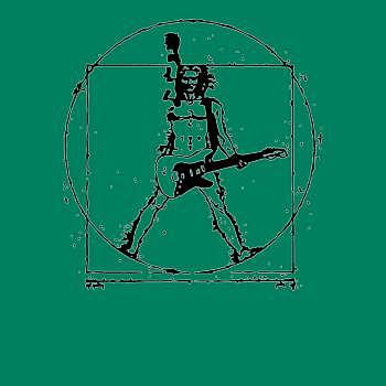 BustedTees: Da Vinci Vitruvian Man Guitar Shirt