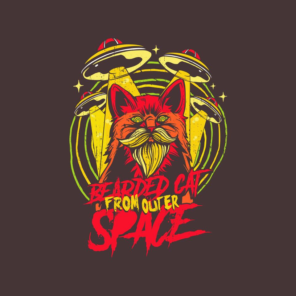 TeeFury: Bearded Cat From Outer Space