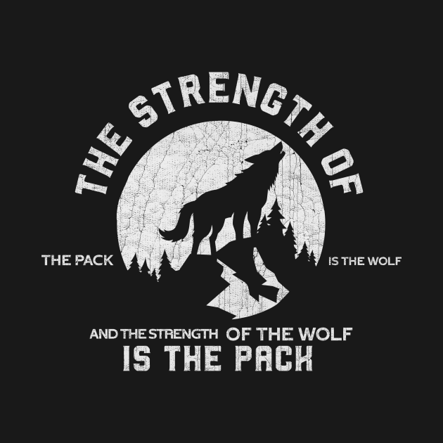 "TeePublic: Epic Wolf Pack Quote ""The strength of the pack"""