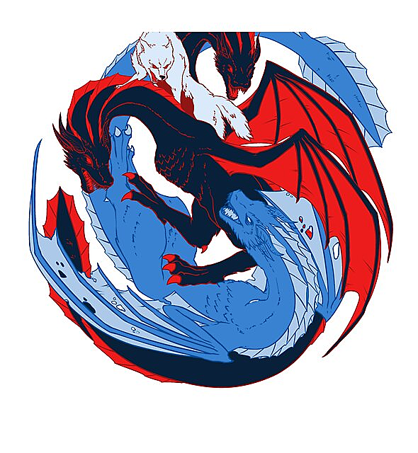 RedBubble: The Dragon and the Wolf