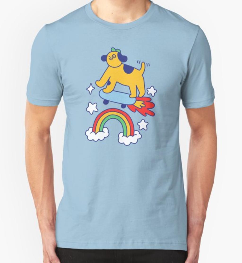 RedBubble: Dog Flying On A Skateboard