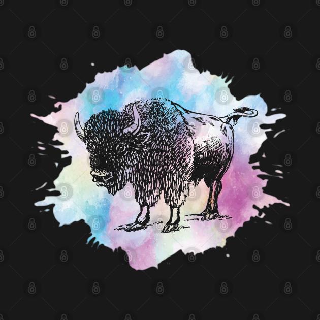 TeePublic: Watercolor Bison Buffalo Lover Retro Wisent Silhouette Gift