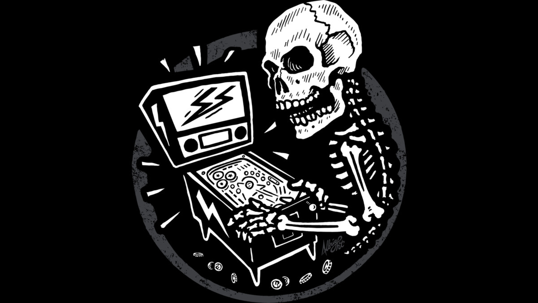 Design by Humans: Skeletal When Lit - Pinball Playing Skull