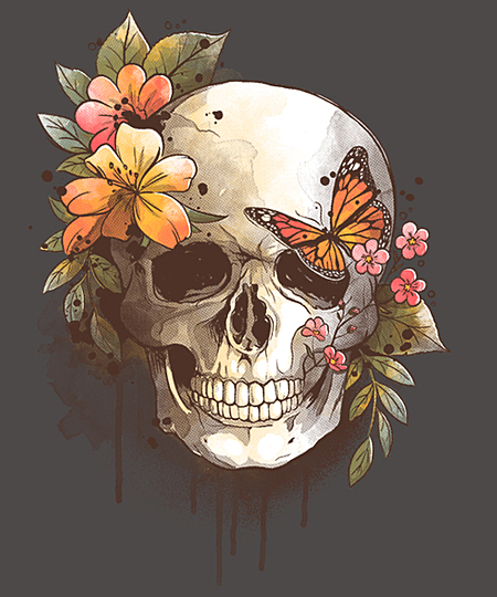 Qwertee: spring skull watercolor