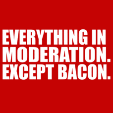 Textual Tees: Everything in Moderation. Except Bacon.