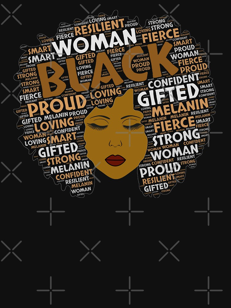 RedBubble: Black Woman Words in Afro Art