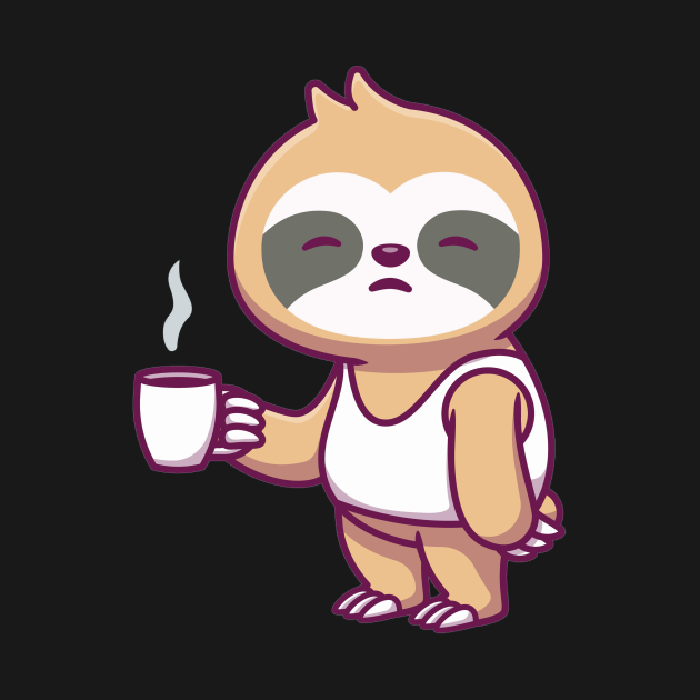 TeePublic: Cute sleepy sloth holidng cup coffee