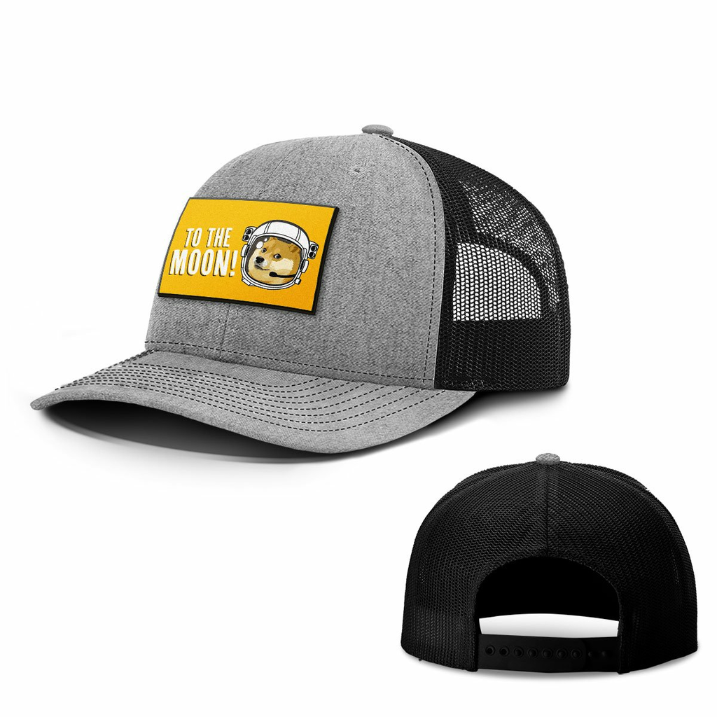 BustedTees: To The Moon Dogecoin Patch Hats