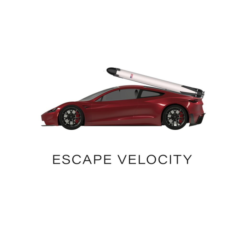 "NeatoShop: Space Roadster ""Escape Velocity"" (Red w/ dark text)"