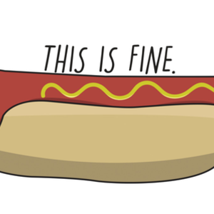 Design by Humans: This is fine. (hotdog) Apparel