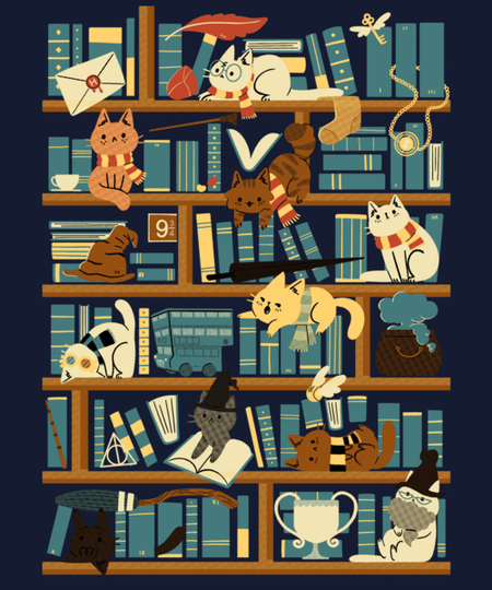 Qwertee: Library Magic School