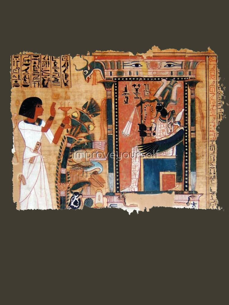 RedBubble: Papyrus illustration from the egyptian Book of the Dead | Ilustración en papiro del Libro de los Muertos egipcio
