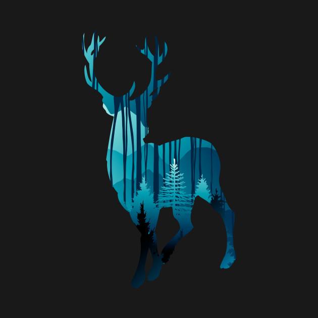 TeePublic: Blue Forest Deer