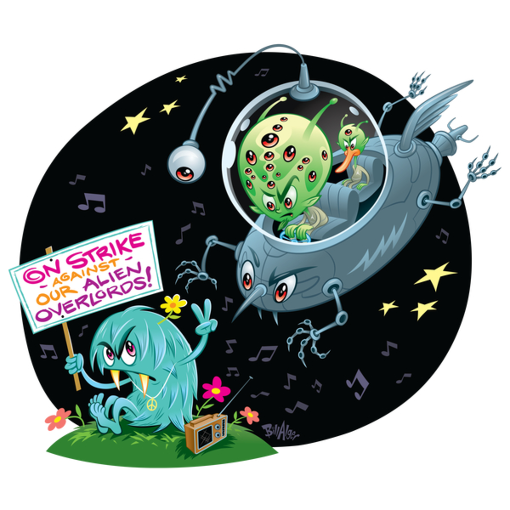 NeatoShop: Hippie Protest Monsters: On Strike Against Our Alien Overlords!