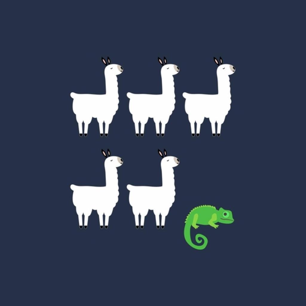 BustedTees: Llama, Llama, Llama, Llama, Llama, Chameleon