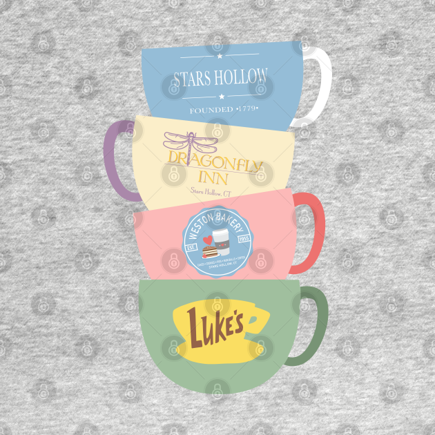 TeePublic: Stars Hollow sign, Dragonfly Inn, Weston Bakery, Luke's Diner Cup Stack