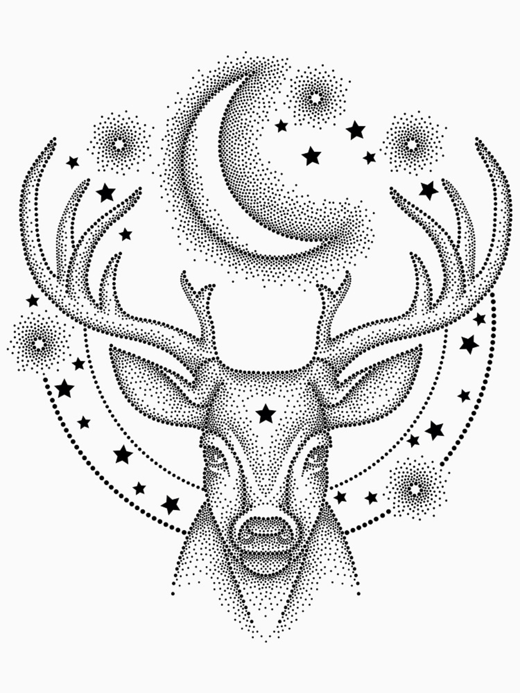 RedBubble: Dotwork deer.
