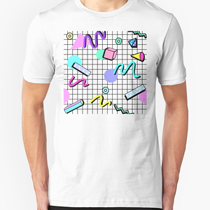 RedBubble: 80s Retro Party Grid Design (White BG)
