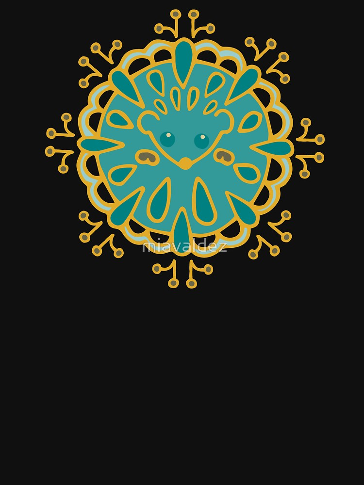 RedBubble: Hedgehog Paisley_Teal BgBlack