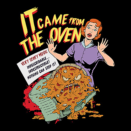 MeWicked: It Came from the Oven - Vintage Horror - Woman with Zombie Pizza