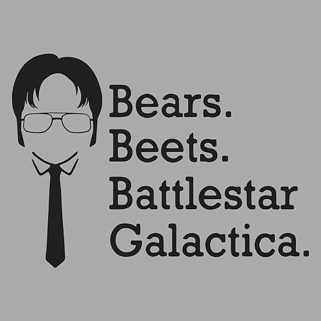 Textual Tees: Bears Beets Battlestar Galactica